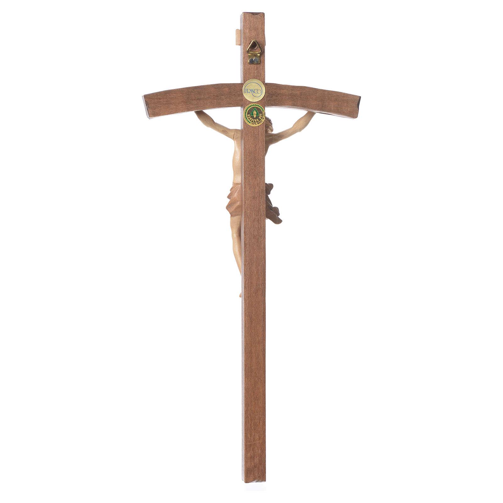 Crucifix courbé mod. Corpus bois patiné multinuance Valgardena 4