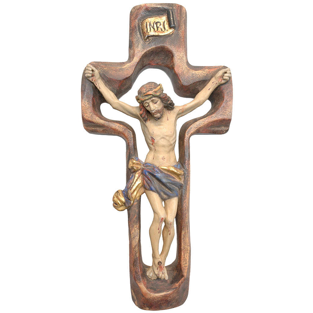 Crucifijo moldeado modelo Corpus, madera Valgardena Antiguo dora 4
