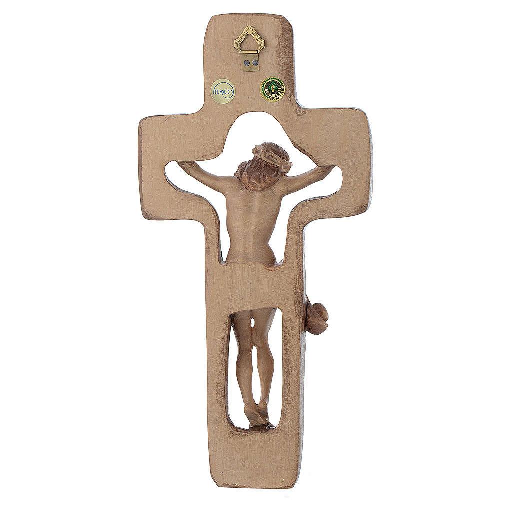 Crocifisso sagomato legno Valgardena multipatinato 4