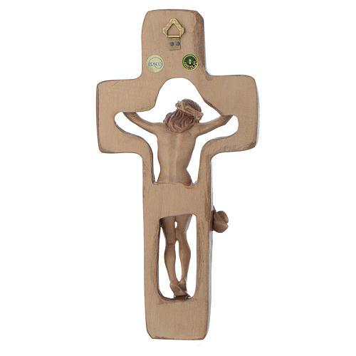 Crocifisso sagomato legno Valgardena multipatinato 3