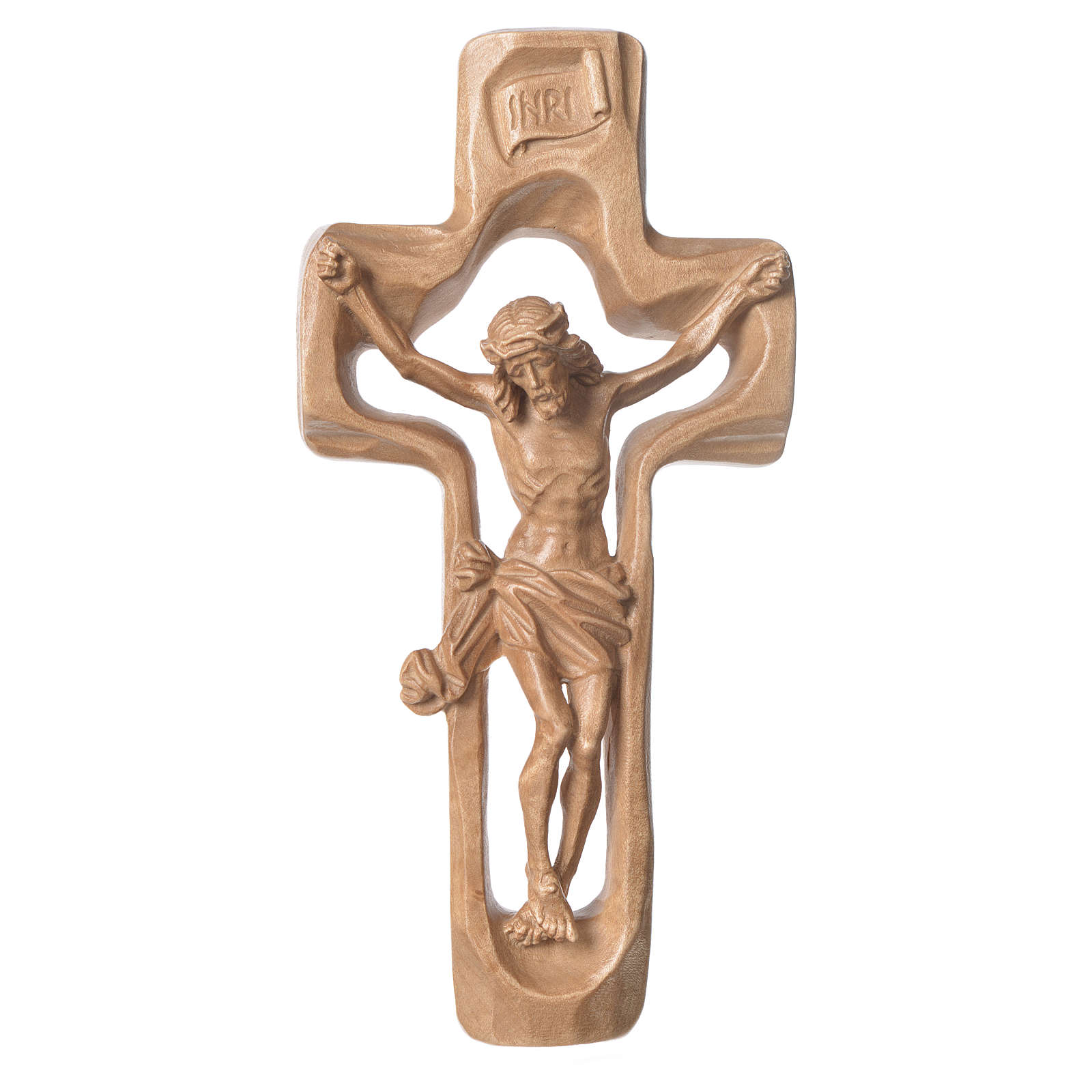 Moulded crucifix in patinated Valgardena wood 4