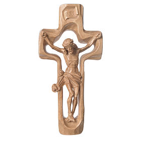 Moulded crucifix in patinated Valgardena wood s1