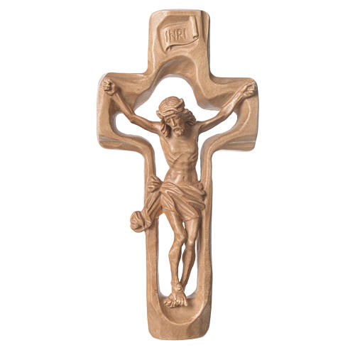 Moulded crucifix in patinated Valgardena wood 1