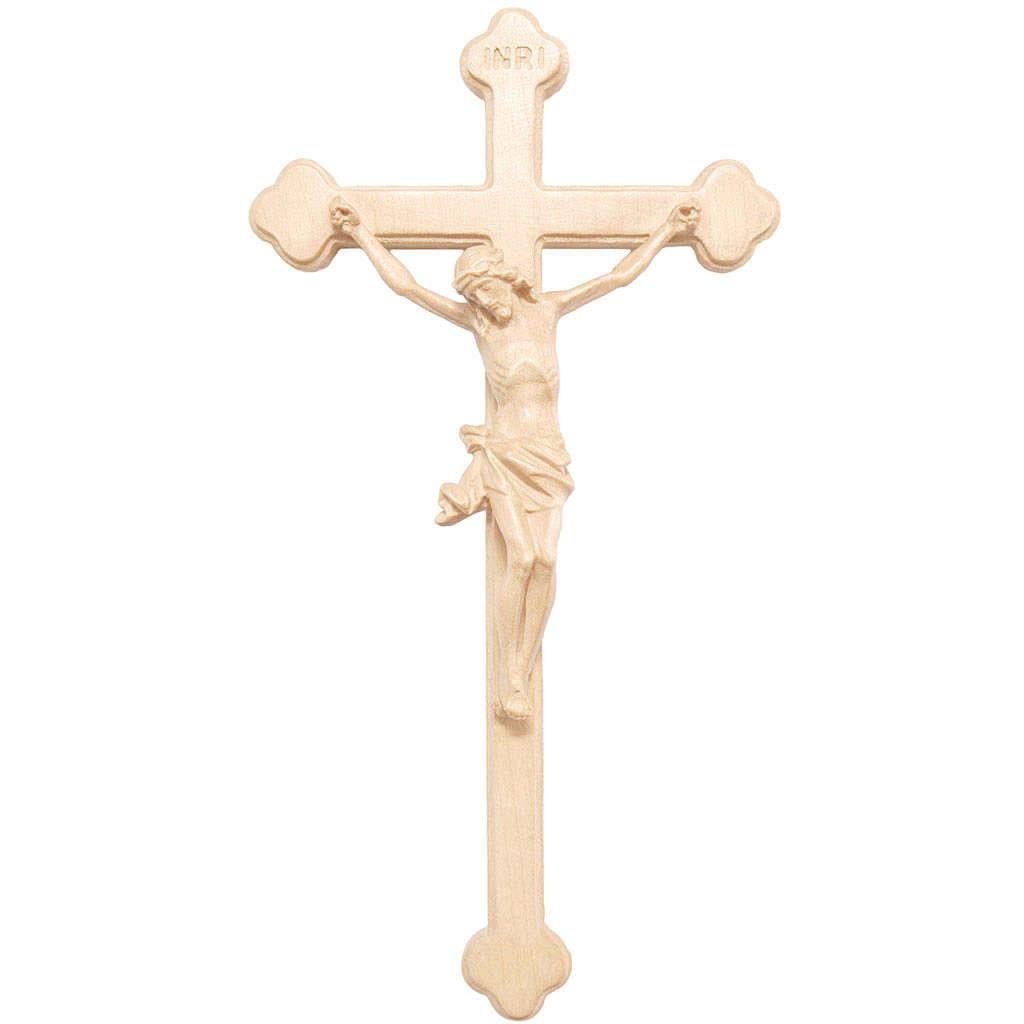 Crucifix trilobé bois naturel ciré Valgardena 4
