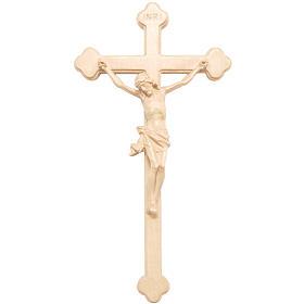 Crucifix trilobé bois naturel ciré Valgardena s1