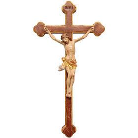 Crucifix trilobé 22 cm bois Valgardena Old Gold s1