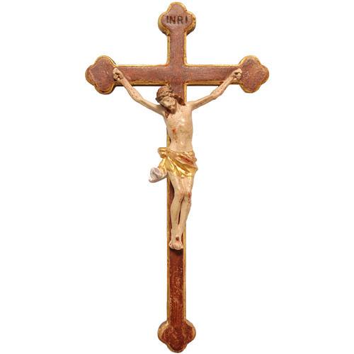Crucifix trilobé 22 cm bois Valgardena Old Gold 1