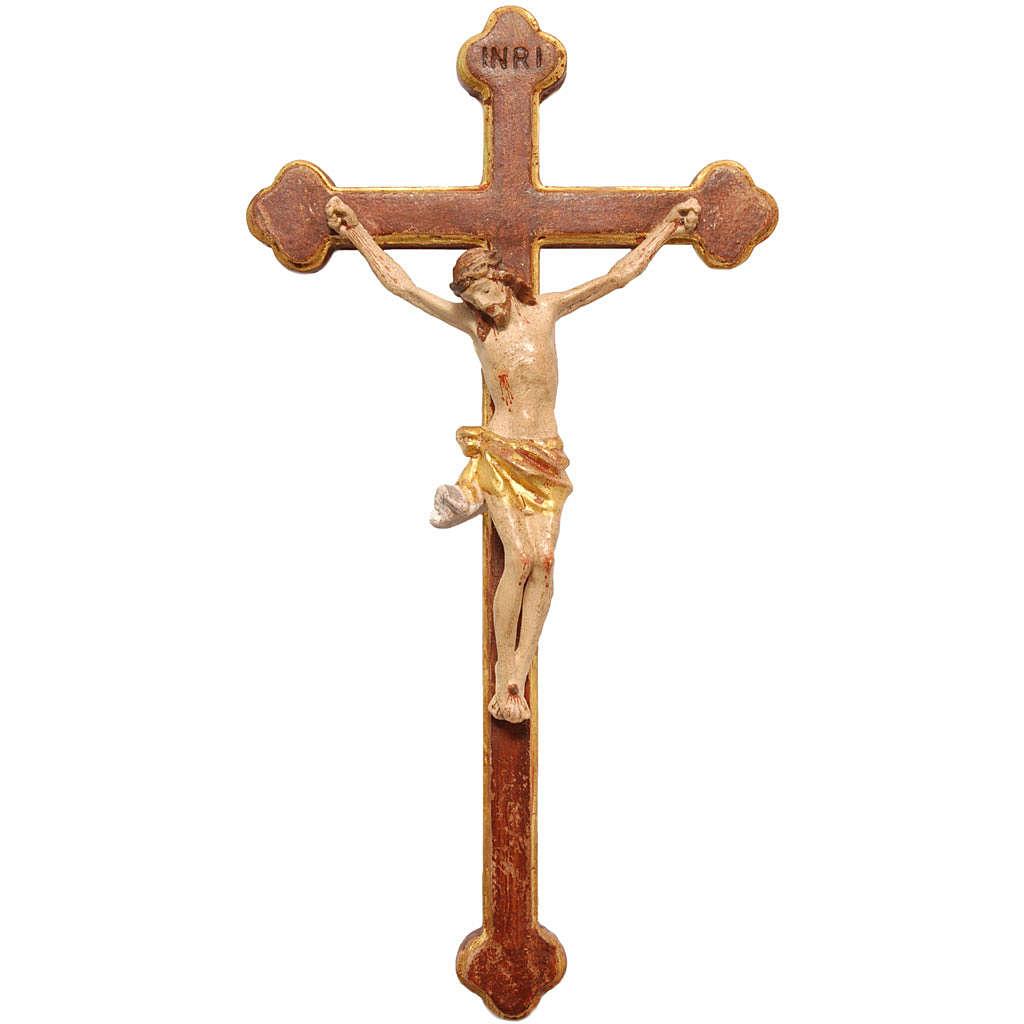 Crocifisso trilobato 22cm legno Valgardena Old Antico Gold 4