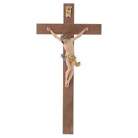 Crucifijo cruz recta modelo Corpus, madera Valgardena pintada s1