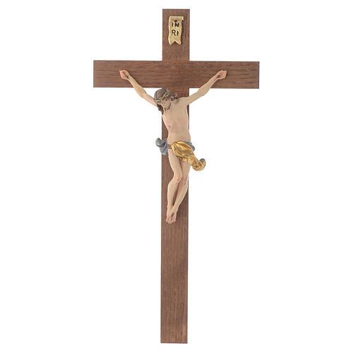 Crucifijo cruz recta modelo Corpus, madera Valgardena pintada 1