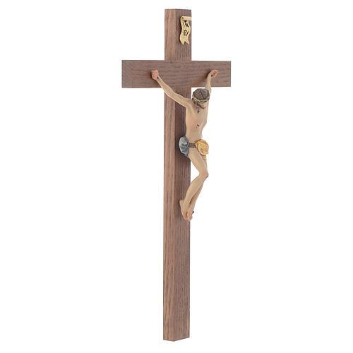 Crucifijo cruz recta modelo Corpus, madera Valgardena pintada 2