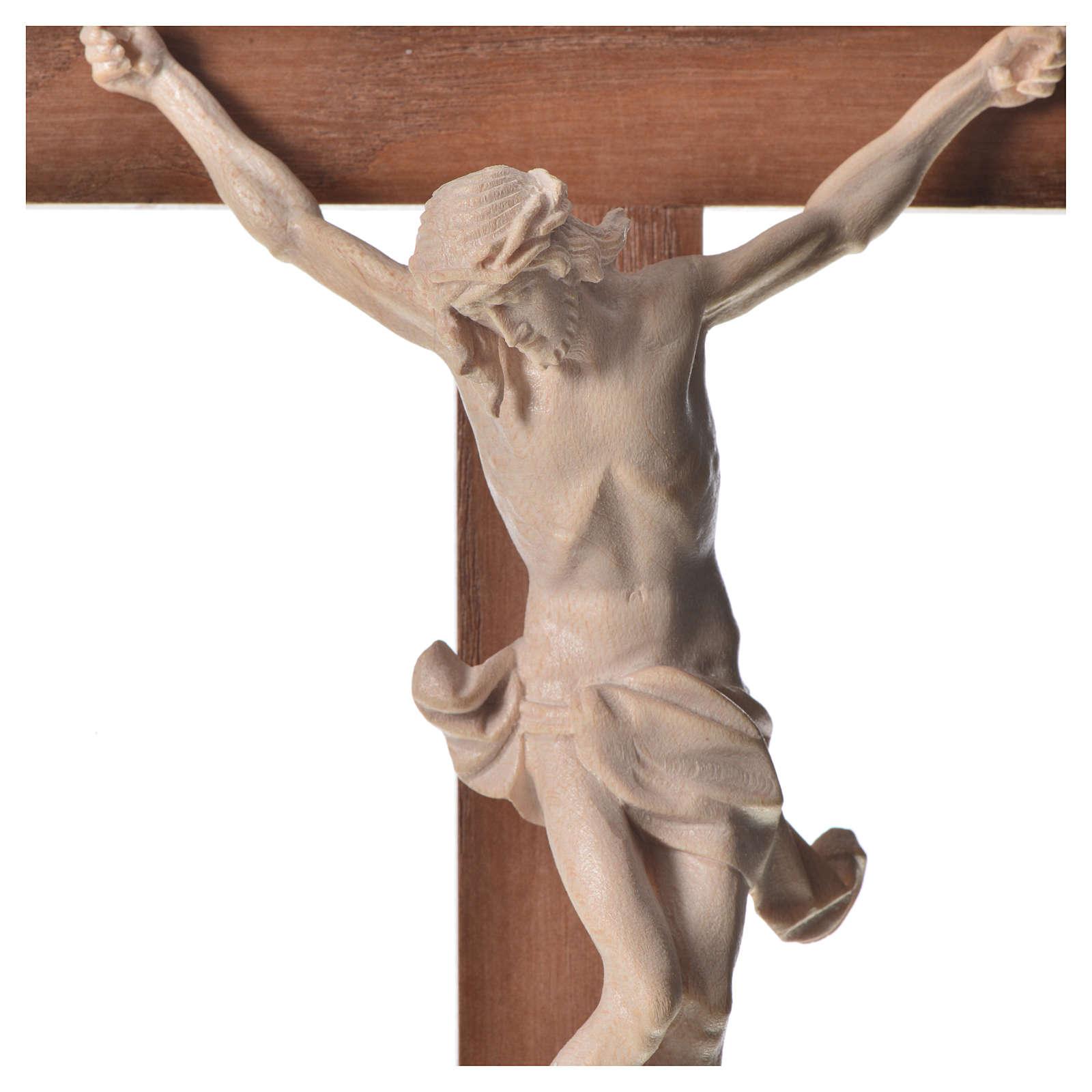 Corpus straight crucifix in natural wax Valgardena wood 4