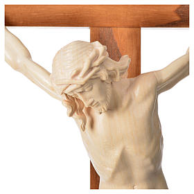 Corpus straight crucifix in natural wax Valgardena wood s14