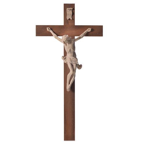 Corpus straight crucifix in natural wax Valgardena wood 7