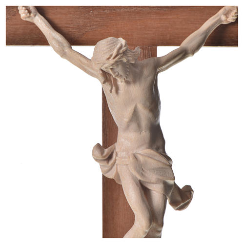 Corpus straight crucifix in natural wax Valgardena wood 8