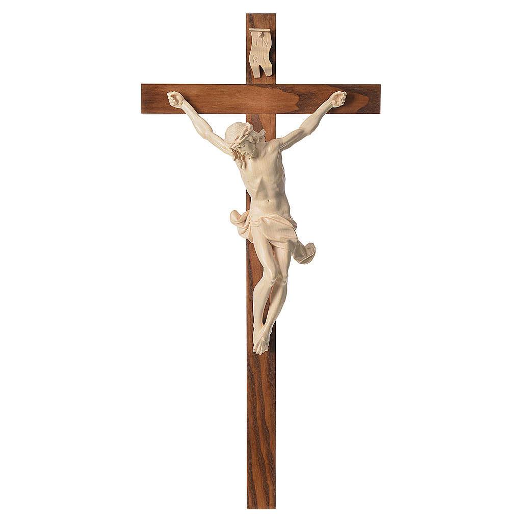 Crucifixo cruz recta Corpus madeira natural encerada Val Gardena 4