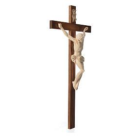 Crucifixo cruz recta Corpus madeira natural encerada Val Gardena s13