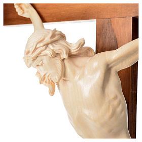Crucifixo cruz recta Corpus madeira natural encerada Val Gardena s15