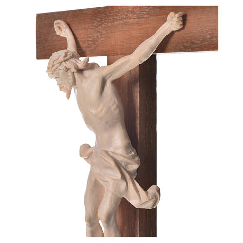 Crucifixo cruz recta Corpus madeira natural encerada Val Gardena 9
