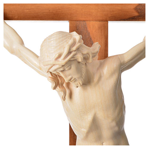 Crucifixo cruz recta Corpus madeira natural encerada Val Gardena 14