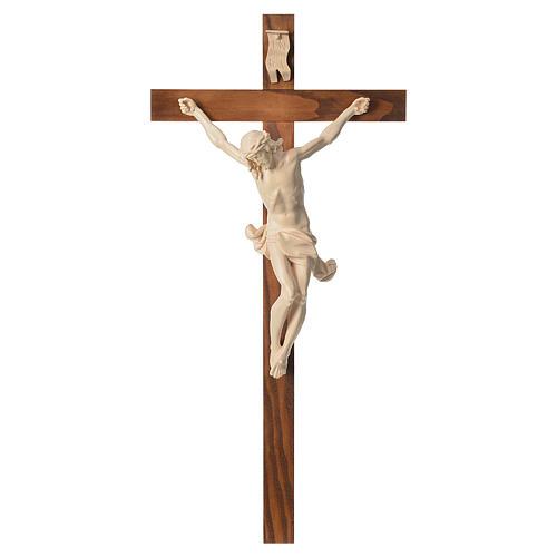 Crucifixo cruz recta Corpus madeira natural encerada Val Gardena 1
