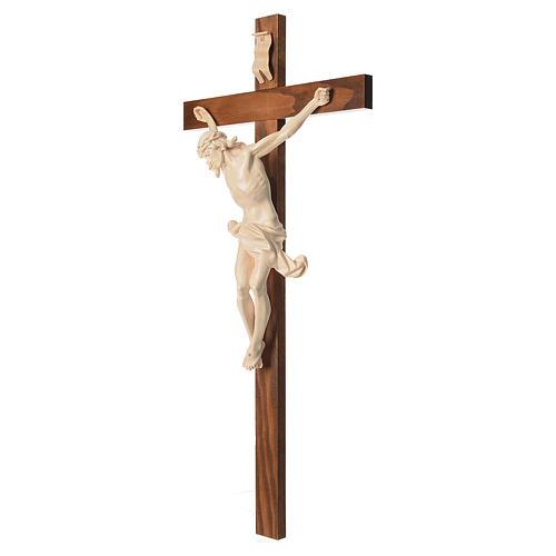Crucifixo cruz recta Corpus madeira natural encerada Val Gardena 2