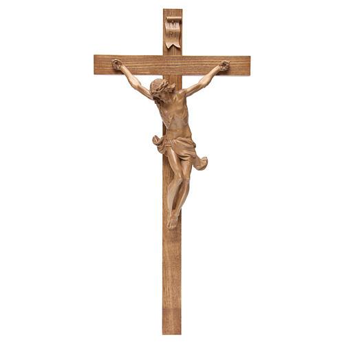 Crucifijo cruz recta modelo Corpus de madera Valgardena patinada 1