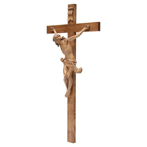 Crucifijo cruz recta modelo Corpus de madera Valgardena patinada 2