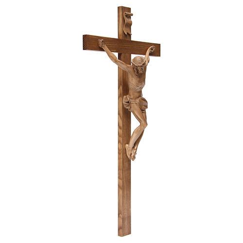 Crucifijo cruz recta modelo Corpus de madera Valgardena patinada 3