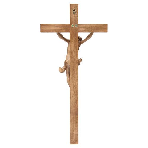 Crucifijo cruz recta modelo Corpus de madera Valgardena patinada 4