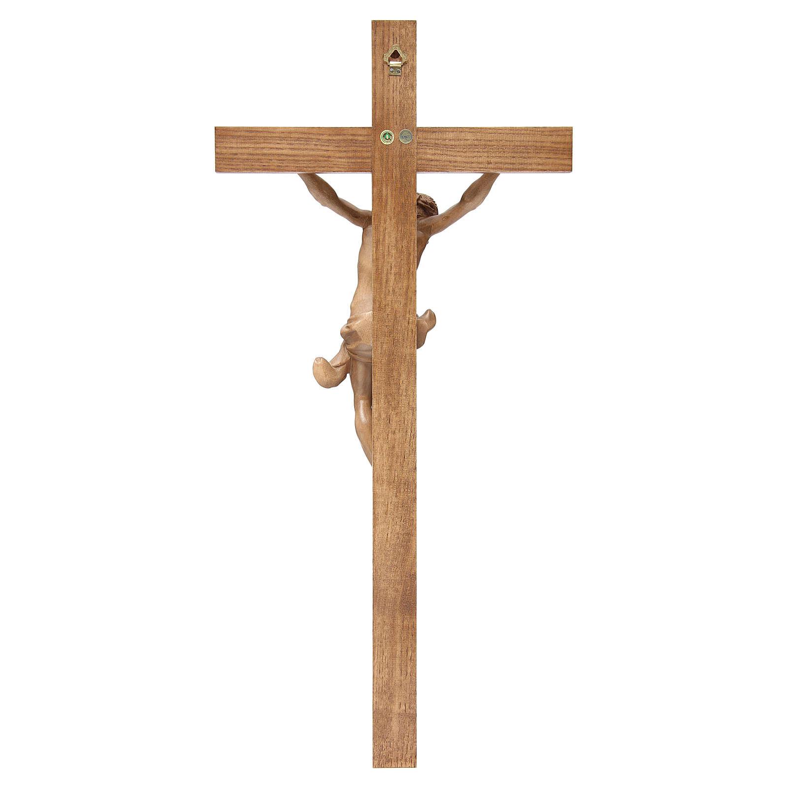 Corpus straight crucifix in patinated Valgardena wood 4