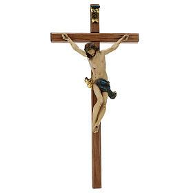 Corpus straight cross in antique gold Valgardena wood s1