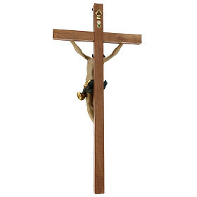 Corpus straight cross in antique gold Valgardena wood s6