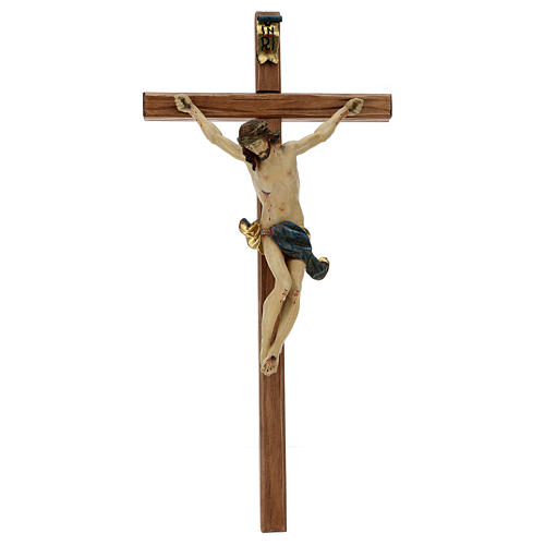 Corpus straight cross in antique gold Valgardena wood 1