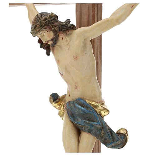 Corpus straight cross in antique gold Valgardena wood 2