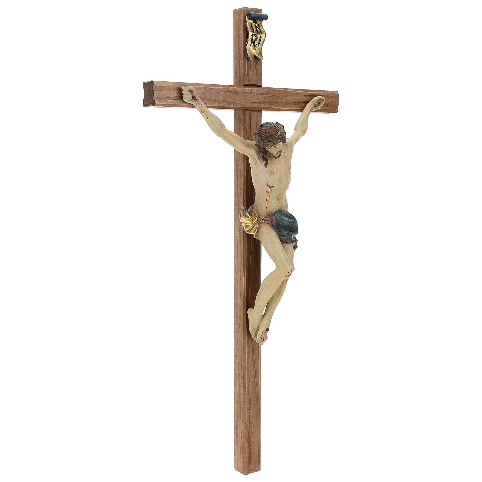 Crucifijo cruz recta tallada modelo Corpus, madera Valgardena An 4