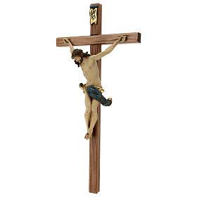 Crucifijo cruz recta tallada modelo Corpus, madera Valgardena An s4
