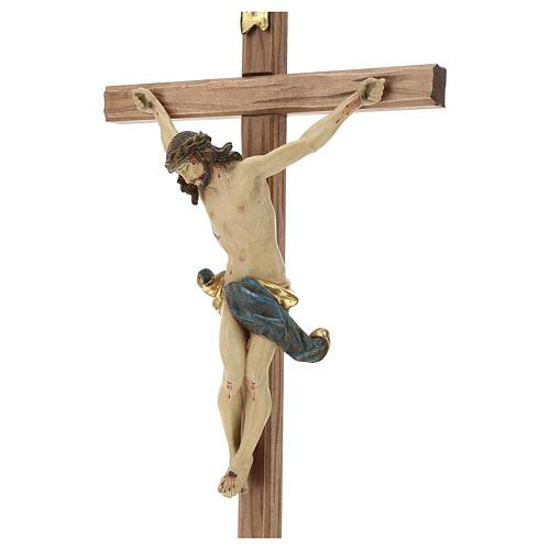 Crucifijo cruz recta tallada modelo Corpus, madera Valgardena An 3