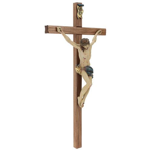 Crucifijo cruz recta tallada modelo Corpus, madera Valgardena An 5