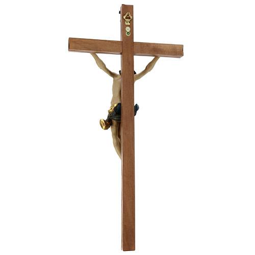 Crucifijo cruz recta tallada modelo Corpus, madera Valgardena An 6