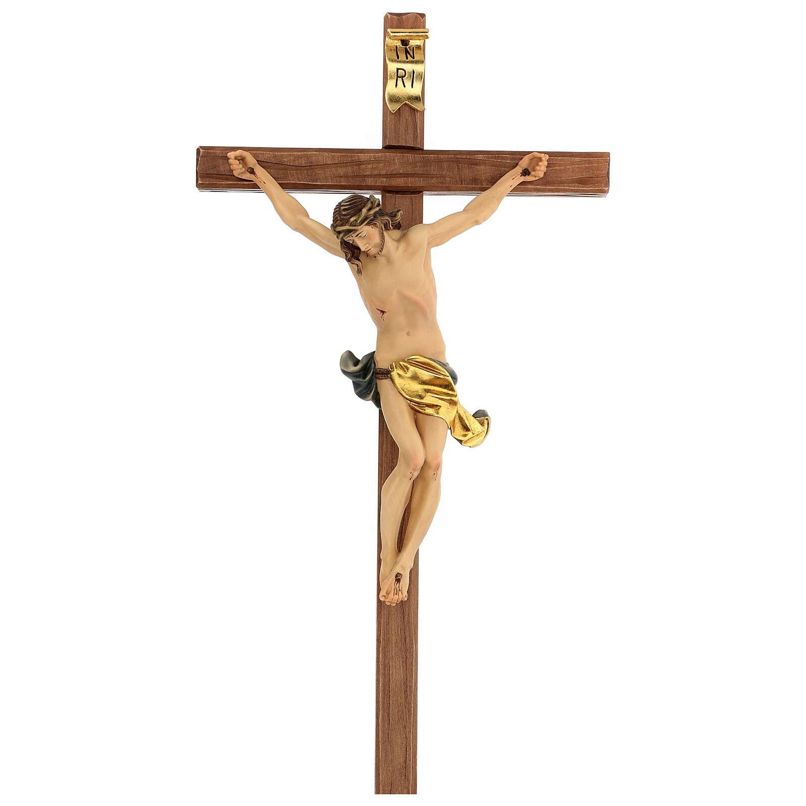 Corpus straight cross in painted Valgardena wood 4