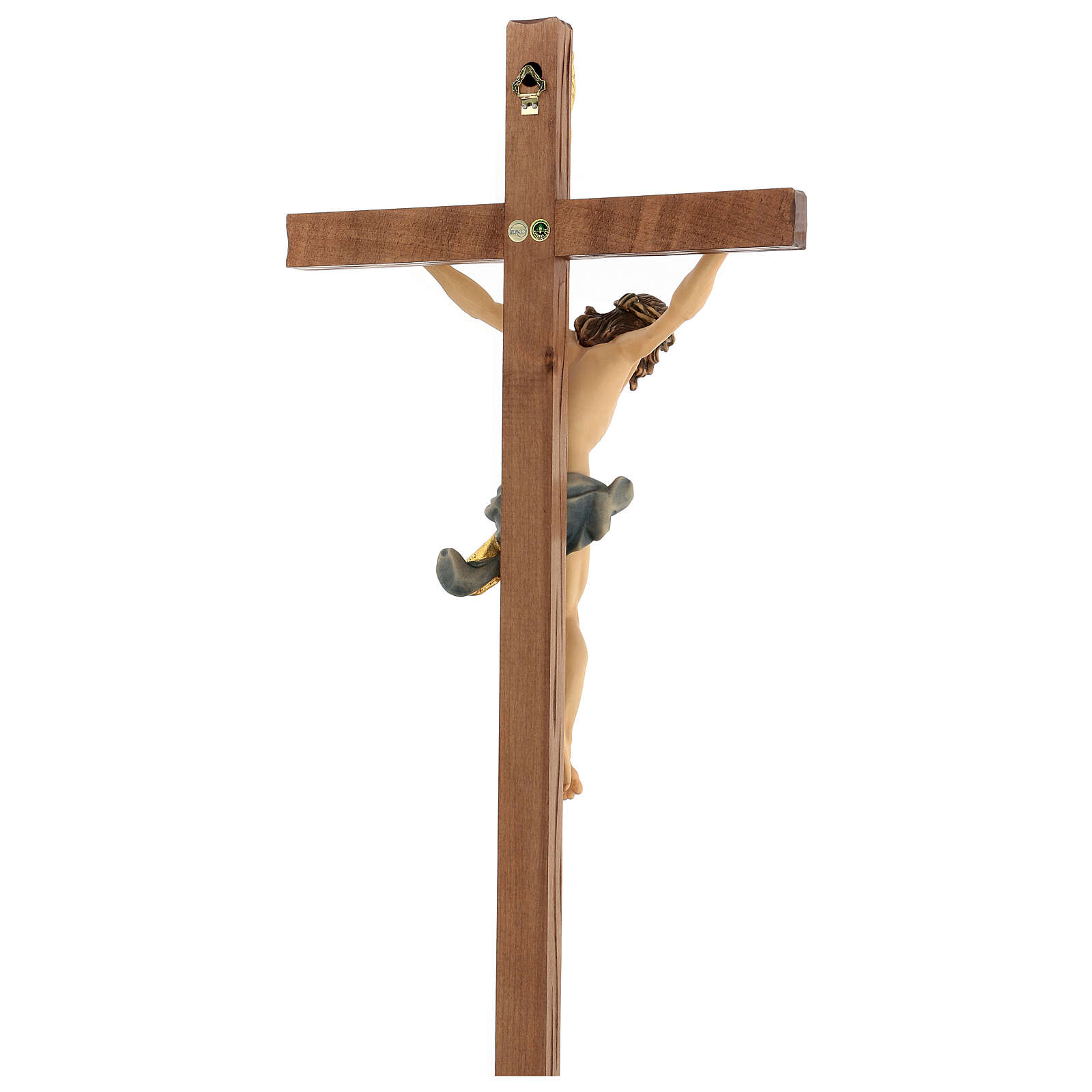 Corpus straight cross in painted Valgardena wood 4