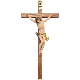 Corpus straight cross in painted Valgardena wood s1