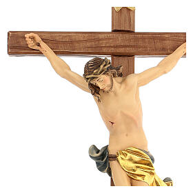 Corpus straight cross in painted Valgardena wood s2
