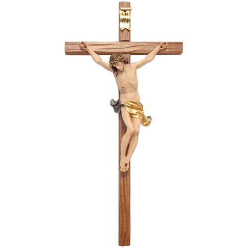 Corpus straight cross in painted Valgardena wood 1