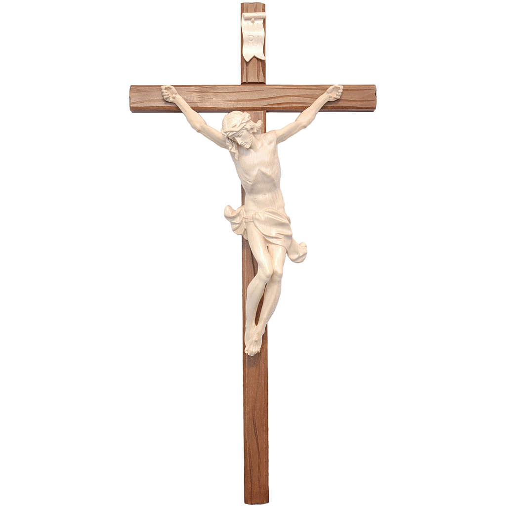 Crocefisso croce dritta scolpita Corpus Valgardena naturale cera 4