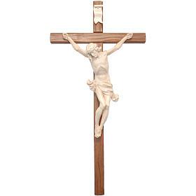 Crocefisso croce dritta scolpita Corpus Valgardena naturale cera s1