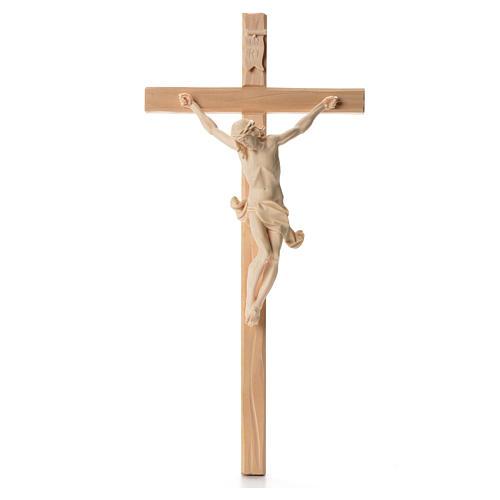 Crocefisso croce dritta scolpita Corpus Valgardena naturale 1