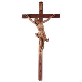 Crucifijo cruz recta tallada modelo Corpus, madera Valgardena pa s1