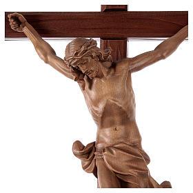 Crucifijo cruz recta tallada modelo Corpus, madera Valgardena pa s2